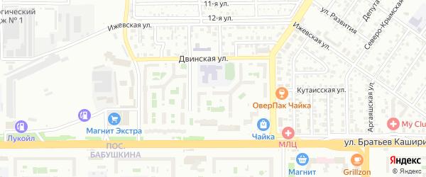 Ижевский переулок на карте Челябинска с номерами домов
