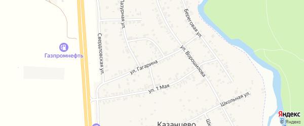 Улица Гагарина на карте деревни Казанцево с номерами домов