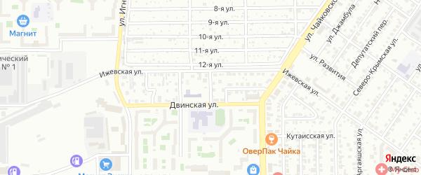 Ижевский 1-й переулок на карте Челябинска с номерами домов
