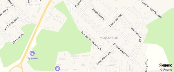 Рождественская улица на карте Долгодеревенского села с номерами домов