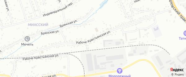 Рабоче-Крестьянская улица на карте Челябинска с номерами домов