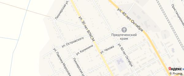 Улица 30 лет ВЛКСМ на карте Увельского поселка с номерами домов