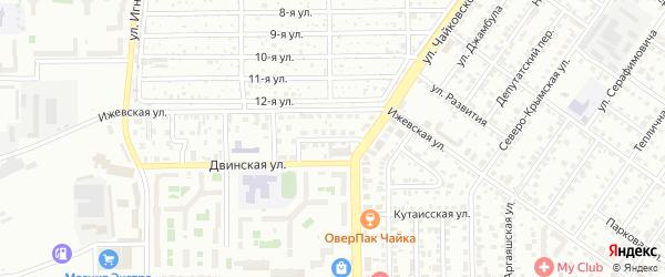 Воркутинский 1-й переулок на карте Челябинска с номерами домов