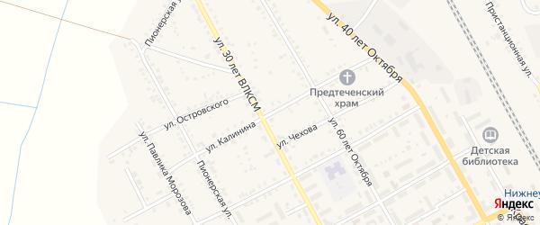 Улица Калинина на карте Увельского поселка с номерами домов