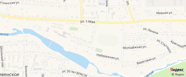 Набережная улица на карте Долгодеревенского села с номерами домов