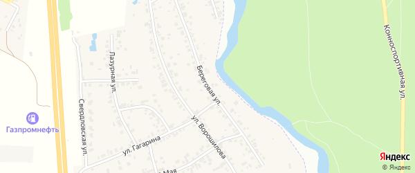 Береговая улица на карте деревни Казанцево с номерами домов