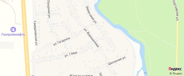 Улица Ворошилова на карте деревни Казанцево с номерами домов