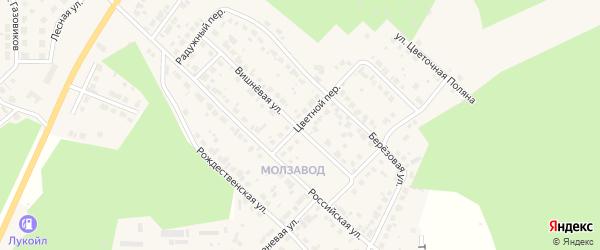 Цветной переулок на карте Долгодеревенского села с номерами домов