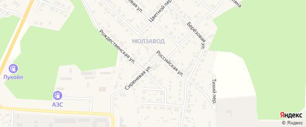 Сиреневая улица на карте Долгодеревенского села с номерами домов
