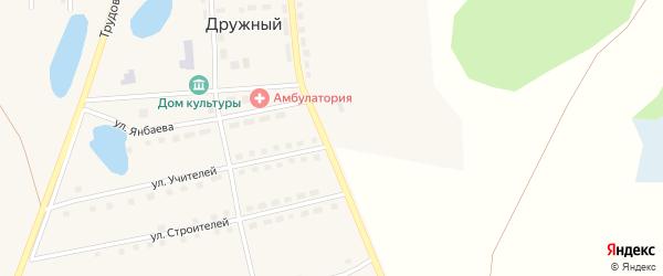 Центральная улица на карте Дружного поселка с номерами домов