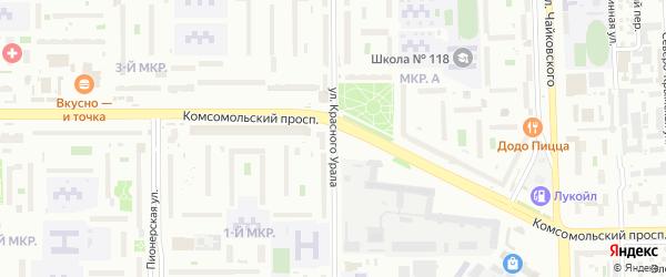 Улица Красного Урала на карте Челябинска с номерами домов