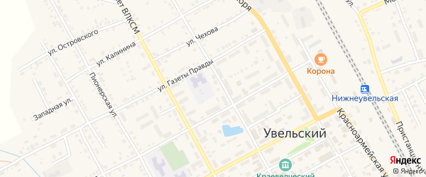 Улица Пушкина на карте Увельского поселка с номерами домов