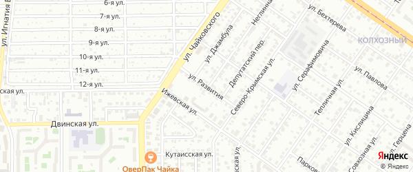 Улица Развития на карте Челябинска с номерами домов