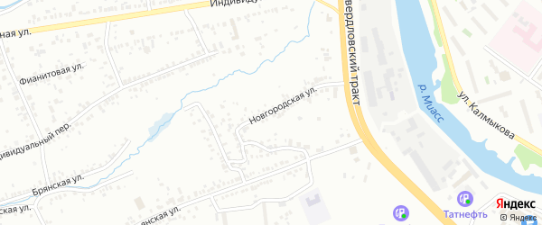 Новгородская улица на карте Челябинска с номерами домов