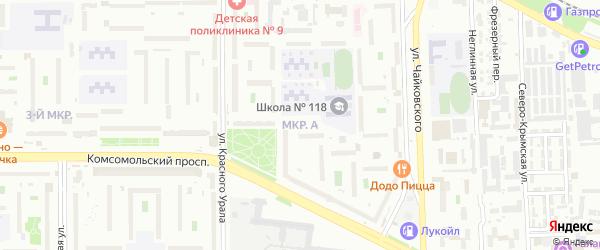 Микрорайон 39-й А на карте Челябинска с номерами домов