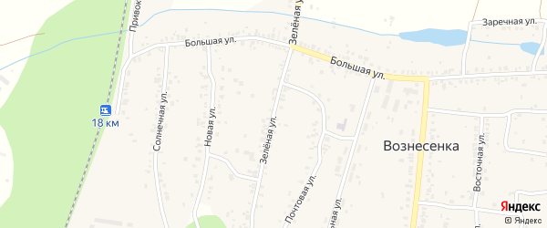 Зеленая улица на карте села Вознесенки с номерами домов