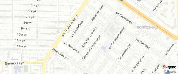 Депутатский переулок на карте Челябинска с номерами домов