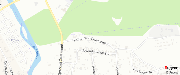Улица Детский санаторий на карте Челябинска с номерами домов