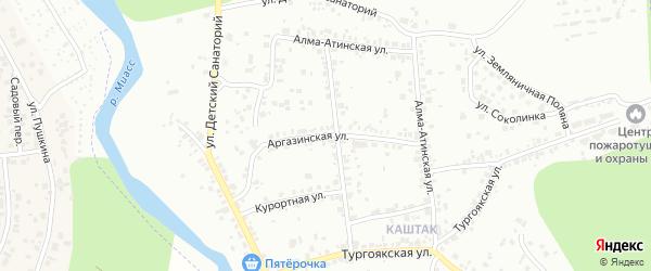 Аргазинская улица на карте Челябинска с номерами домов
