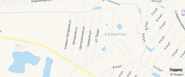 Улица 7-й квартал на карте садового товарищества Вскрышника с номерами домов