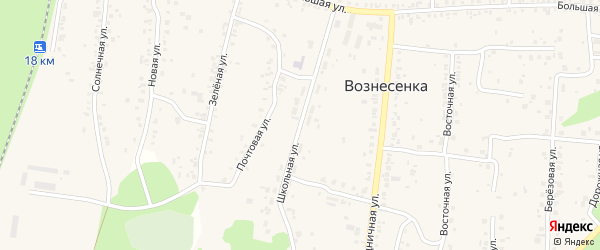 Школьная улица на карте села Вознесенки с номерами домов