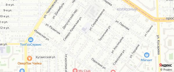 Коммунальная улица на карте Челябинска с номерами домов