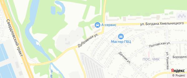 Дубравная улица на карте Челябинска с номерами домов