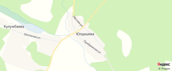 Карта деревни Юлдашева в Челябинской области с улицами и номерами домов