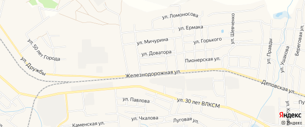 Карта железнодорожного разъезда Томино в Челябинской области с улицами и номерами домов