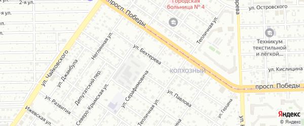 Улица Серафимовича на карте Челябинска с номерами домов
