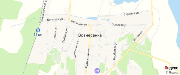 Карта села Вознесенки в Челябинской области с улицами и номерами домов