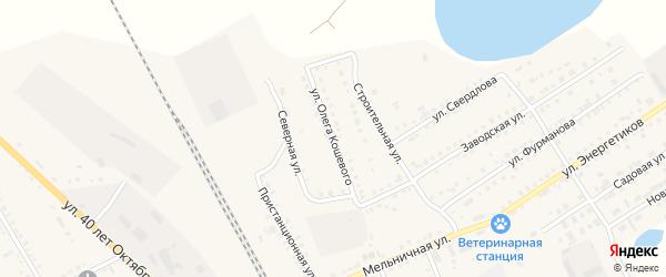 Улица Олега Кошевого на карте Увельского поселка с номерами домов