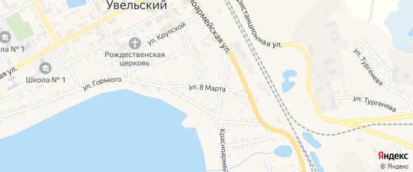 Улица 8 Марта на карте Увельского поселка с номерами домов