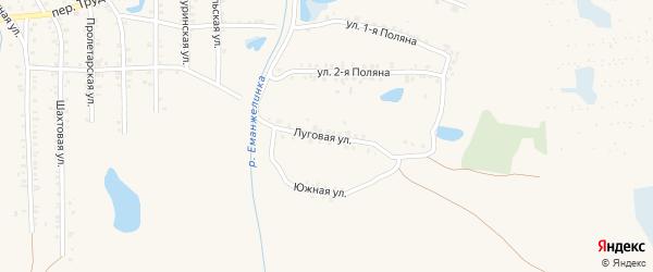 Луговая улица на карте Еманжелинска с номерами домов