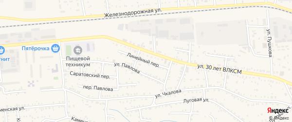 Линейный переулок на карте Коркино с номерами домов