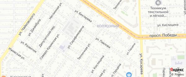 Тепличная улица на карте Челябинска с номерами домов