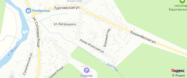 Хвойный переулок на карте Челябинска с номерами домов