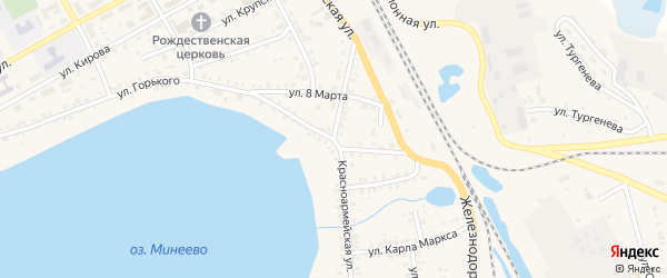 Красноармейская улица на карте Увельского поселка с номерами домов