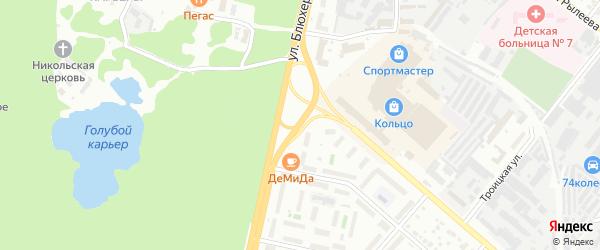 Улица Блюхера на карте Челябинска с номерами домов