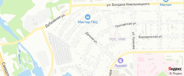 Дачная улица на карте Трехгорного-1 с номерами домов
