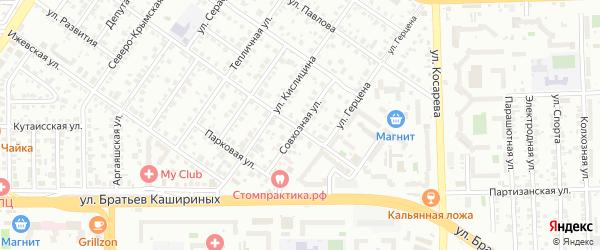 Улица Совхозная(Колхозный) на карте Челябинска с номерами домов