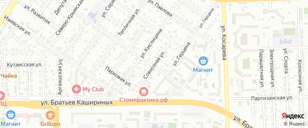 Улица Совхозная (Шершни) на карте Челябинска с номерами домов