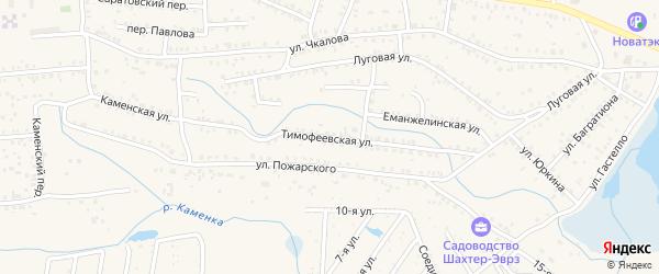 Тимофеевская улица на карте Коркино с номерами домов