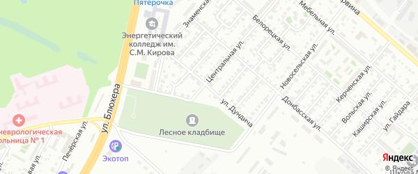 Улица Дундича на карте Челябинска с номерами домов