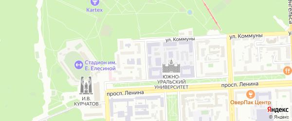 Институтский 2-й переулок на карте Челябинска с номерами домов