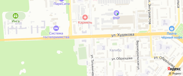 Улица Татьяничевой на карте Челябинска с номерами домов