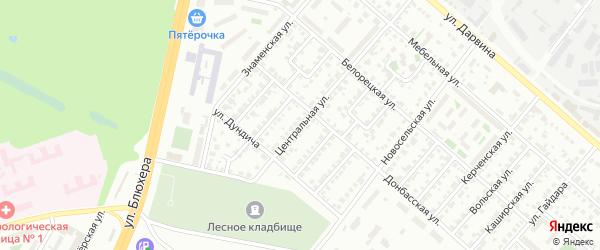 Улица Центральная (Шершни) на карте Челябинска с номерами домов