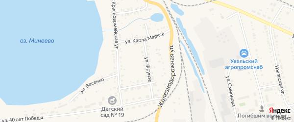 Улица Фрунзе на карте Увельского поселка с номерами домов