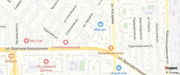 Оранжерейный переулок на карте Челябинска с номерами домов