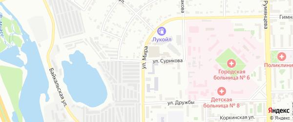 Территория ГСК 504 филиал по ул Сурикова на карте Челябинска с номерами домов